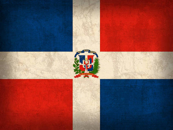 Dominican Republic Flag Vintage Distressed Finish Poster