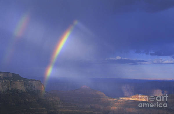 Double Rainbow At Cape Royal Grand Canyon National Park Poster