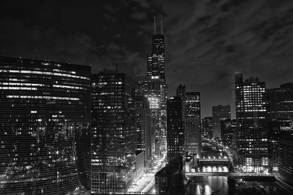 Downtown Chicago At Night Poster