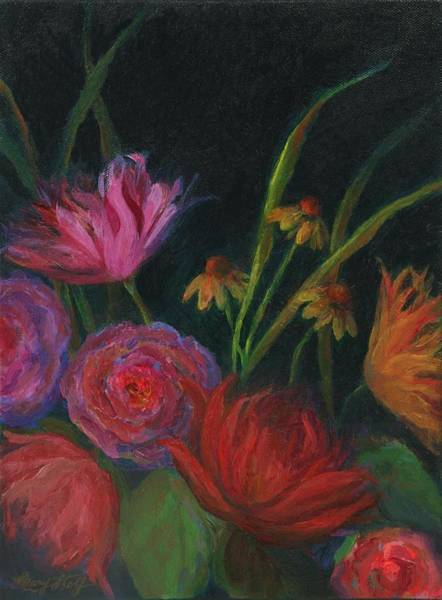 Dramatic Floral Still Life Painting Poster