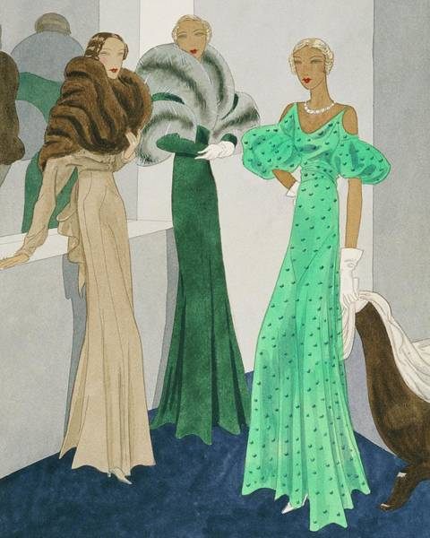 Drawing Of Models Wearing Wool Evening Dresses Poster
