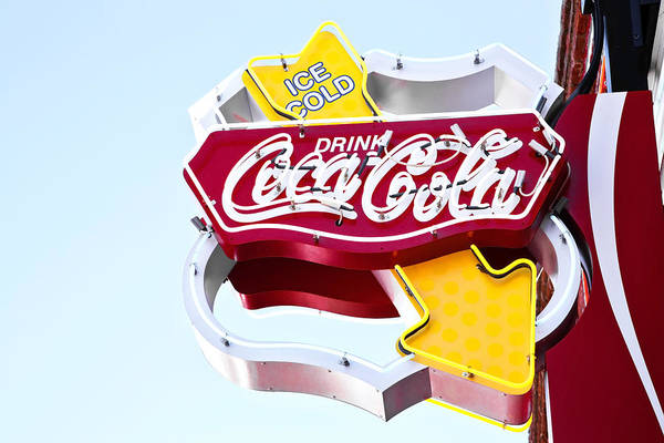 Poster featuring the photograph Drink Coca Cola Vintage Neon Sign by Gigi Ebert