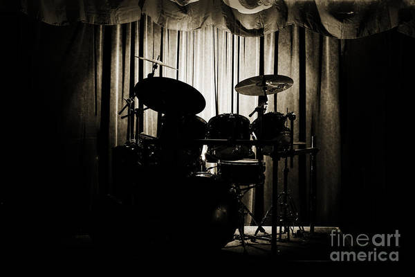 Drum Set On Stage Photograph Combo Jazz Sepia 3234.01 Poster
