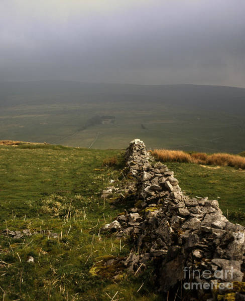 Drystone Wall  Misty Day Kettlewell Wharfedale North Yorkshire England Poster