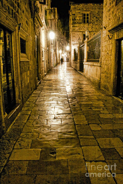 Dubrovnik Streets At Night Poster
