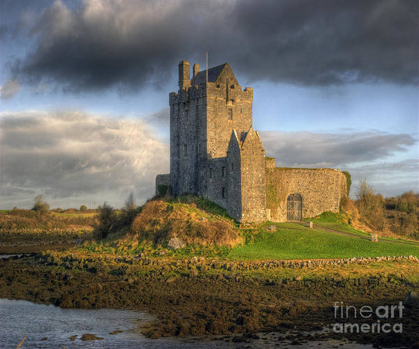 Dunguaire Castle With Dramatic Sky Kinvara Galway Ireland Poster