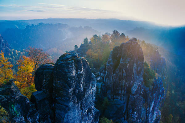 Early Morning Mist At The Bastei In The Saxon Switzerland Poster