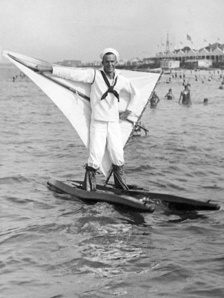 Early Wind Surfer In 1926 Poster