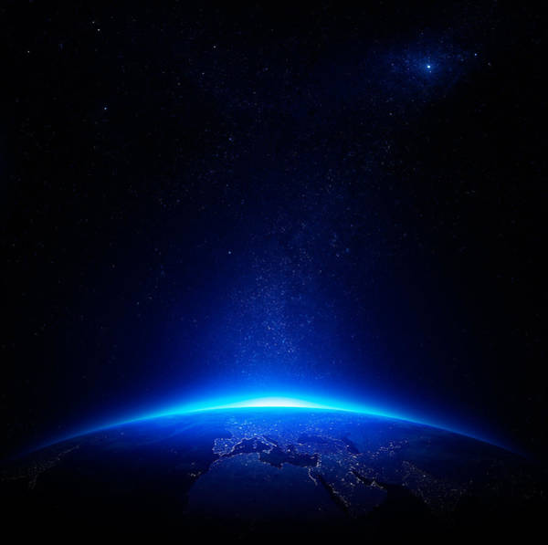 Earth At Night With City Lights Poster