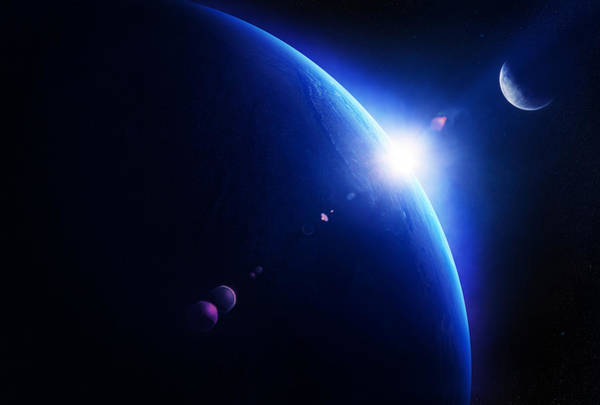 Earth Sunrise With Moon In Space Poster