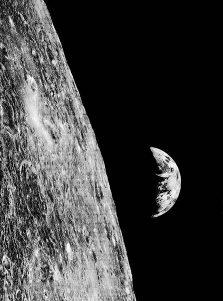Earthrise From Lunar Orbiter 1 Poster