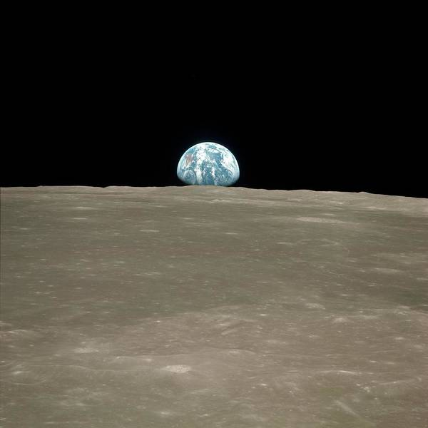 Earthrise Over Moon Poster