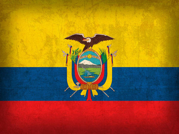 Ecuador Flag Vintage Distressed Finish Poster