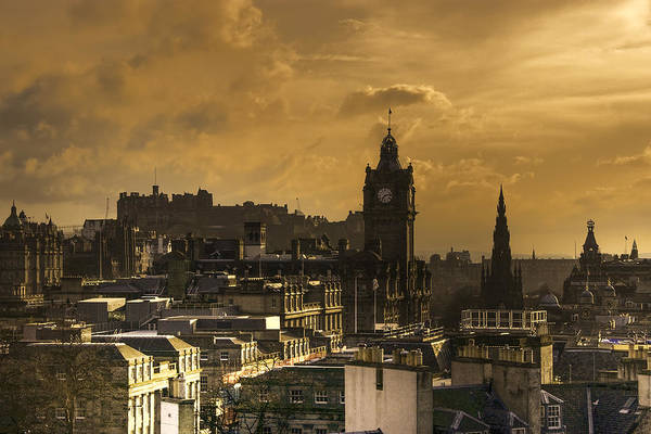 Poster featuring the photograph Edinburgh Dusk by Ross G Strachan