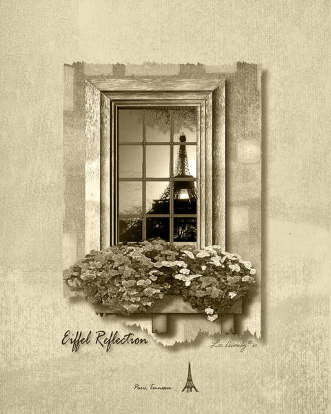 Eiffel Reflection In Sepia Poster