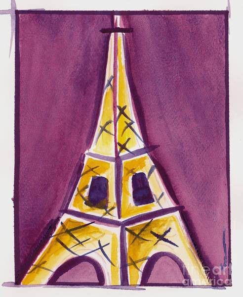 Eiffel Tower Purple And Yellow Poster