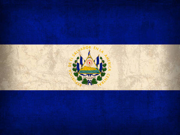 El Salvador Flag Vintage Distressed Finish Poster