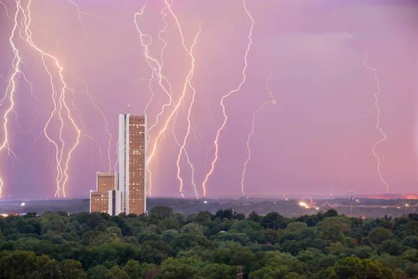 Electric Night - Cityplex Towers - Tulsa Oklahoma Poster