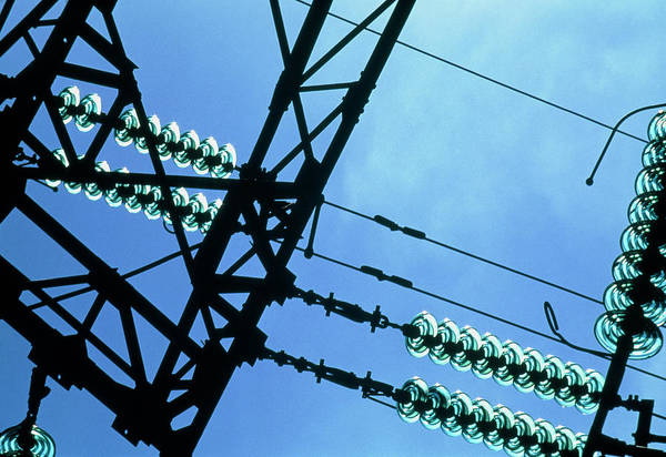 Electricity Cables And Insulators On A Pylon Poster