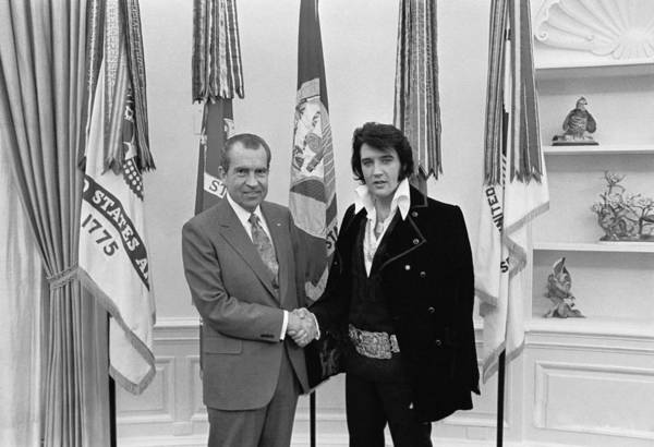Elvis Presley And Richard Nixon-featured In Men At Work Group Poster