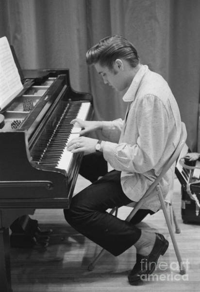 Elvis Presley On Piano While Waiting For A Show To Start 1956 Poster