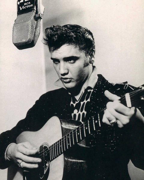 Elvis Presley Plays And Sings Into Old Microphone Poster