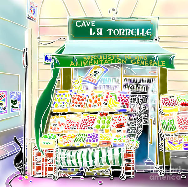 Poster featuring the digital art Epicerie In Paris by Hisayo Ohta