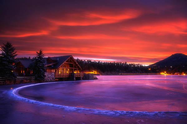 Evergreen Lake Sunrise Poster