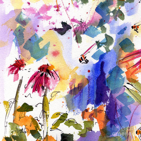 Expressive Watercolor Flowers And Bees Poster