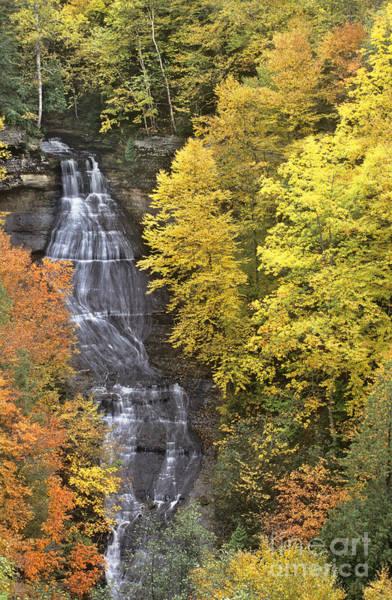 Fall Color Surrounds Chapel Falls On The Michigan Upper Peninsula Poster