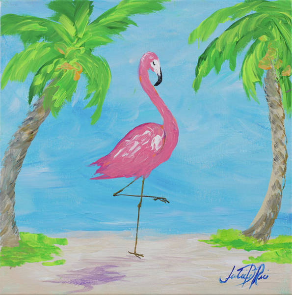 Fancy Flamingos I Poster