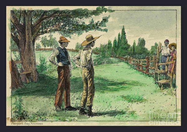 Farmers In Pasture With Trees 1885 Hand Tinted Etching  Poster