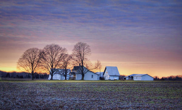 Farmstead At Sunset Poster