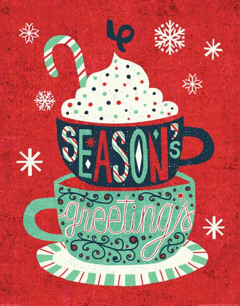 Festive Holiday Cocoa Seasons Greetings Poster