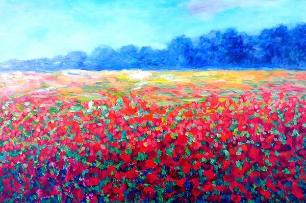 Field With Red Poppies Poster