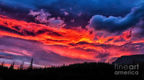 Poster featuring the photograph Fiery Sunrise At Glacier National Park by Sophie Doell