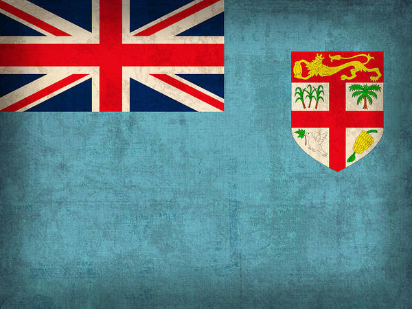 Fiji Flag Vintage Distressed Finish Poster