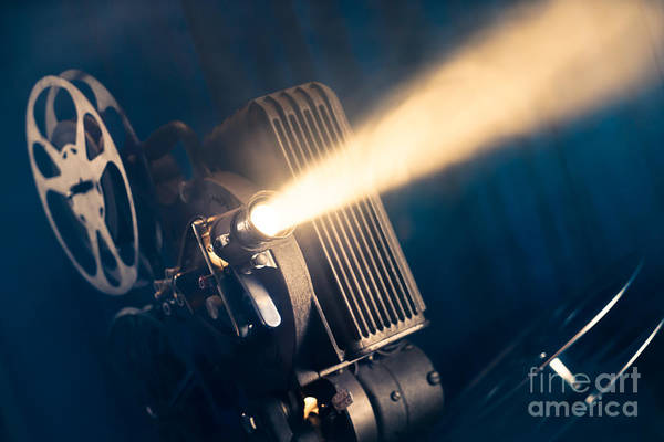 Film Projector On A Wooden Background Poster