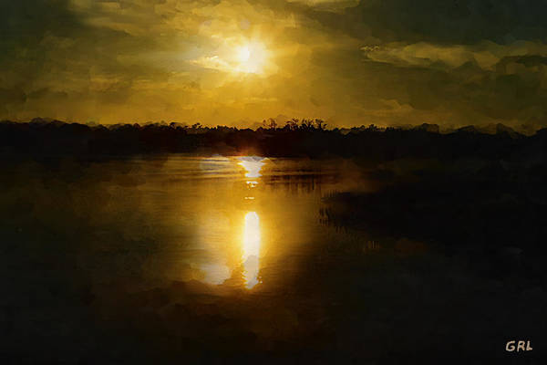 Fine Art Digital Painting Sunset Weeki Wachee Florida Poster