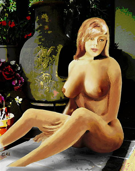 Poster featuring the painting Fine Art Female Nude Jess Sitting On The Patio by G Linsenmayer