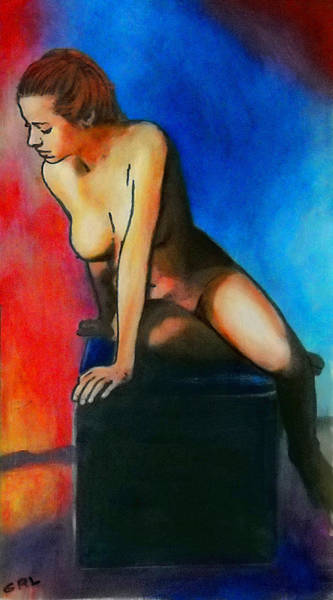 Poster featuring the painting Fine Art Female Nude Posing Seated Acrylic Oil Painting3 by G Linsenmayer