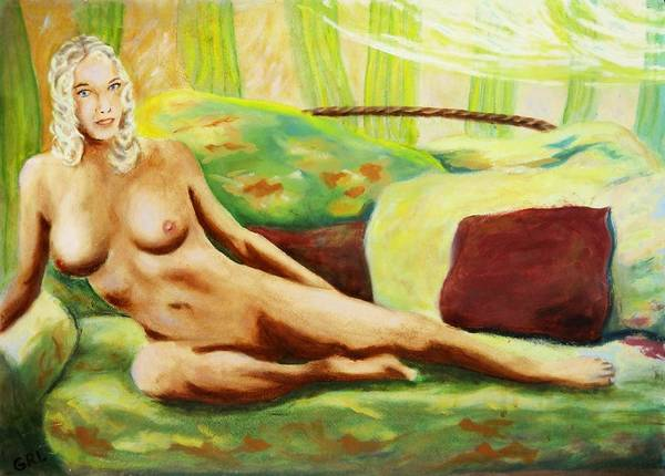 Poster featuring the painting Fine Art Female Nude Sitting Brigit Original Painting by G Linsenmayer