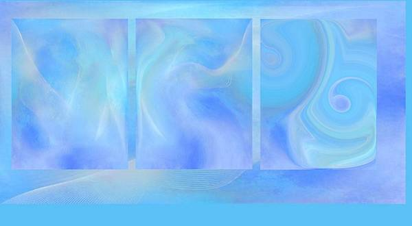 Fine Art Original Digital Abstract Untitled1bb4 As Blue Poster