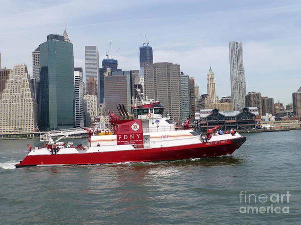 Fireboat Three Forty Three  Fdny With The Nyc Skyline Poster