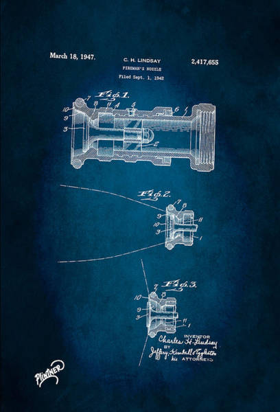 Firefighter's Nozzle Patent 1947 Poster