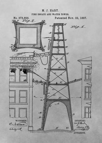 Firefighting Patent Drawing Poster
