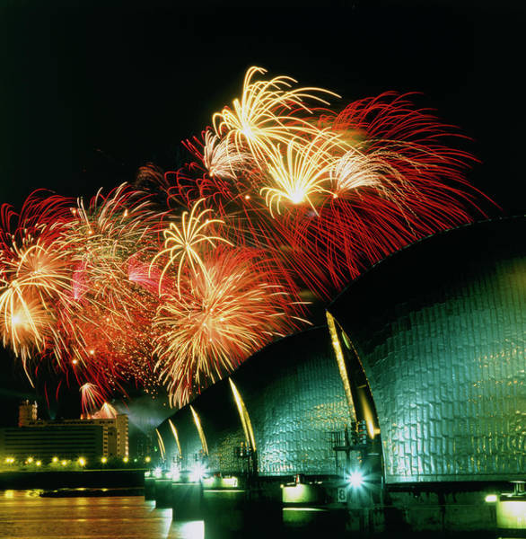 Fireworks And The Thames Barrier Poster