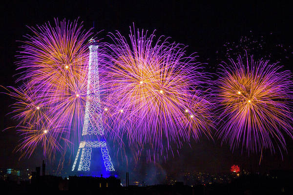 Fireworks At The Eiffel Tower For The 14 July Celebration Poster