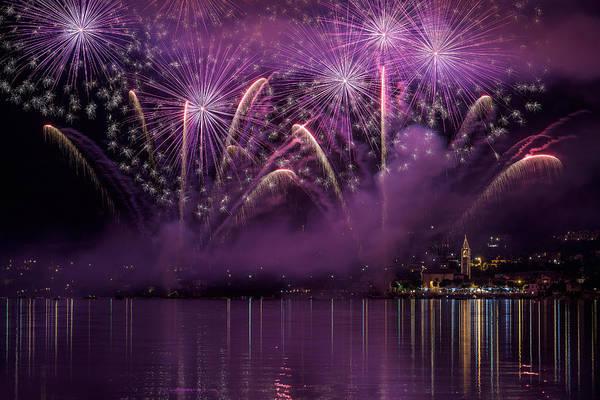 Fireworks Lake Pusiano Poster