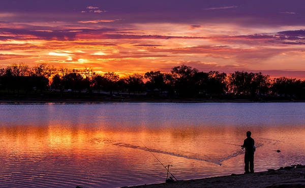 Fisherman At Sunrise Poster